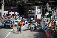 the early breakaway group manages to hold off the peloton until they hit the local circuit in Genova, but already there the bunch is moving in fast to prepare for a much anticipated bunch sprint<br /> <br /> 2015 Giro<br /> stage 2: Albenga - Genova (177km)