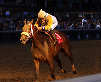 "LOUISVILLE, KY - JUNE 17: Forever Unbridled (#1, Joel Rosario) wins the 42nd running of the G2 Fleur de Lis Handicap at Churchill Downs, Louisville Kentucky, a Breeders' Cup ""Win and You're In"" race. Owner Charles E. Fipke, trainer Dallas Stewart. By Unbridled's Song x Lemons Forever, by Lemon Drop Kid. (Photo by Mary M. Meek/Eclipse Sportswire/Getty Images)"