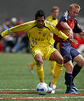 Columbus Crew FW Ivan Becerra (19) and Real salt Lake FW Jamie Watson (22) battle for the ball in the Columbus Crew Reserves 2-0 loss to Reserves of Real Salt Lake at Quinn Sports Complex in Park City, Utah May 7, 2006