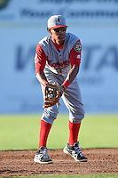 Lowell Spinners second baseman Deiner Lopez (5) during a game against the Batavia Muckdogs on July 16, 2014 at Dwyer Stadium in Batavia, New York.  Lowell defeated Batavia 6-4.  (Mike Janes/Four Seam Images)