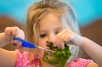 NWA Democrat-Gazette/CHARLIE KAIJO Anora Walker, 4, of Joplin, Mos. cuts a piece of fabric to make a garden home in the Garden Homes class, Friday, March 23, 2018 at Crystal Bridges Museum of Modern American Art in Bentonville. <br /><br />The museum offered free artmarking, acitivities and performances for Spring Break.