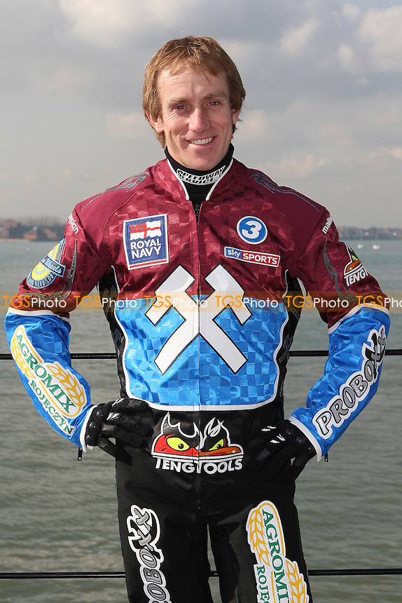 Adam Shields of Lakeside Hammers - Lakeside Hammers Speedway team announce sponsorship by the Royal Navy for the 2010 season aboard HMS Kent in Portsmouth Dockyard - 02/03/10 - MANDATORY CREDIT: Gavin Ellis/TGSPHOTO - Self billing applies where appropriate - Tel: 0845 094 6026