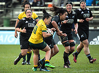 Linda Itunu tries to tackle Fenella Hake during the 2017 International Women's Rugby Series rugby match between the NZ Black Ferns and Australia Wallaroos at Rugby Park in Christchurch, New Zealand on Tuesday, 13 June 2017. Photo: Dave Lintott / lintottphoto.co.nz