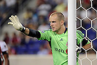 Goalkeeper Stefan Frei (24) of Toronto FC. The New York Red Bulls defeated Toronto FC 5-0 during a Major League Soccer (MLS) match at Red Bull Arena in Harrison, NJ, on July 06, 2011.