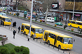 Municipally owned buses in central Tbilisi, Georgia.