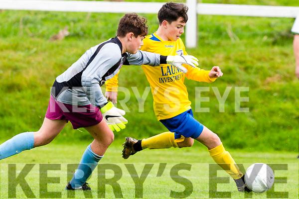 Gearoid Hassett Killorglin rounds the Caherdavin keeper during the FAI cup clash  in Killorglin on Saturday morning