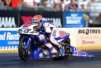 Jul. 26, 2013; Sonoma, CA, USA: NHRA pro stock motorcycle rider Hector Arana Jr during qualifying for the Sonoma Nationals at Sonoma Raceway. Mandatory Credit: Mark J. Rebilas-