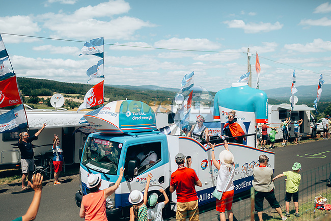 The publicity caravan passes by before the race during Stage 9 of the 2019 Tour de France running 170.5km from Saint-Etienne to Brioude, France. 14th July 2019.<br /> Picture: ASO/Thomas Maheux   Cyclefile<br /> All photos usage must carry mandatory copyright credit (© Cyclefile   ASO/Thomas Maheux)