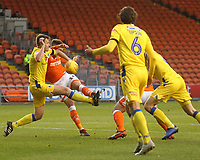 Blackpool's Harry Pritchard gets a shot on goal<br /> <br /> Photographer Mick Walker/CameraSport<br /> <br /> The EFL Sky Bet League One - Blackpool v Bristol Rovers - Saturday 3rd November 2018 - Bloomfield Road - Blackpool<br /> <br /> World Copyright © 2018 CameraSport. All rights reserved. 43 Linden Ave. Countesthorpe. Leicester. England. LE8 5PG - Tel: +44 (0) 116 277 4147 - admin@camerasport.com - www.camerasport.com
