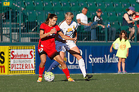 Rochester, NY - Friday June 17, 2016: Portland Thorns FC midfielder Tobin Heath (17), Western New York Flash midfielder Makenzy Doniak (3) during a regular season National Women's Soccer League (NWSL) match between the Western New York Flash and the Portland Thorns FC at Rochester Rhinos Stadium.