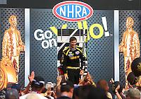 Aug. 18, 2013; Brainerd, MN, USA: NHRA top fuel dragster driver Morgan Lucas during the Lucas Oil Nationals at Brainerd International Raceway. Mandatory Credit: Mark J. Rebilas-