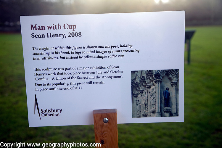 Sean Henry 2008 Man with Cup information, Salisbury cathedral, Wiltshire, England
