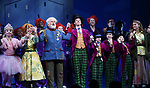 Emma Pfaeffle, Jackie Hoffman, John Rubinstein, Christian Borle, Jake Ryan Flynn, Ryan Sell, Ryan Foust, Emily Padgett and cast during the Broadway Opening Performance Curtain Call of 'Charlie and the Chocolate Factory' at the Lunt-Fontanne Theatre on April 23, 2017 in New York City.