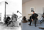 Berenice Abbot's portrait of Edward Hopper vs Charles Sternaimolo Self Portrait 2010.Hopper's former apartment and NY studio, Washington Square, NYC now owned by NYU