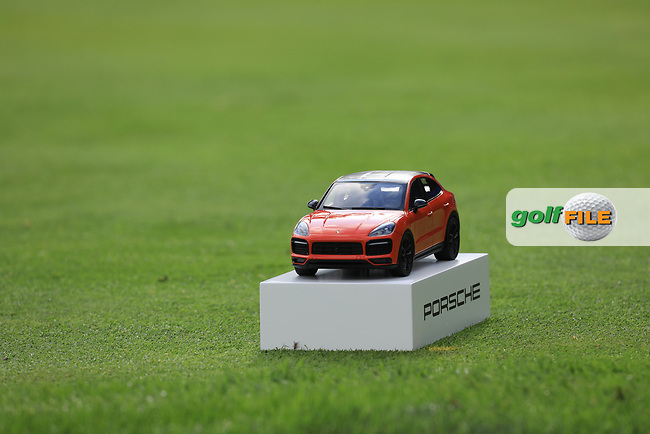 A nice new tee marker during the 1st round at the Porsche European Open, Green Eagles Golf Club, Luhdorf, Winsen, Germany. 05/09/2019.<br /> Picture Phil Inglis / Golffile.ie<br /> <br /> All photo usage must carry mandatory copyright credit (© Golffile   Phil Inglis)