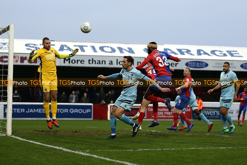 Emmanuel Onariase of Dagenham goes close during Dagenham & Redbridge vs Boreham Wood, Vanarama National League Football at the Chigwell Construction Stadium on 5th January 2019