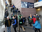 SIOUX FALLS, SD - MARCH 23: Fans walk up the steps for the game between St. Cloud State University and Air Force at the 2018 West Region Men's NCAA DI Hockey Tournament at the Denny Sanford Premier Center in Sioux Falls, SD. (Photo by Dave Eggen/Inertia)