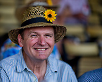 BALTIMORE, MD - MAY 19: A fan shows off his Preakness-themed hat on Black-Eyed Susan Day at Pimlico Race Course on May 19, 2017 in Baltimore, Maryland.(Photo by Scott Serio/Eclipse Sportswire/Getty Images)