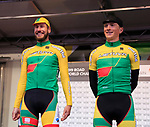 Gediminas Bagdonas and Evaidas Siskevicius of Lithuania at sign on before the Men Elite Road Race of the UCI World Championships 2019 running 280km from Leeds to Harrogate, England. 29th September 2019.<br /> Picture: Eoin Clarke | Cyclefile<br /> <br /> All photos usage must carry mandatory copyright credit (© Cyclefile | Eoin Clarke)