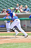 Tennessee Smokies right fielder Eddy Martinez (20) runs to first base during a game against the Birmingham Barons at Smokies Stadium on May 6, 2018 in Kodak, Tennessee. The Smokies defeated the Barons 6-2. (Tony Farlow/Four Seam Images)