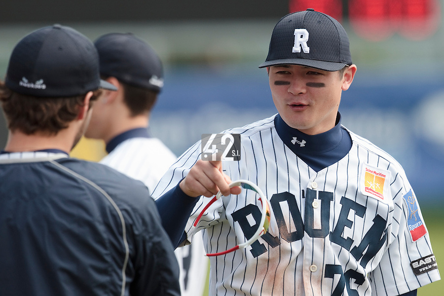 04 June 2010: Kenji Hagiwara of Rouen is seen prior to the 2010 Baseball European Cup match won  20-7 by Heidenheim Heidekopfe over the Rouen Huskies, at the Kravi Hora ballpark, in Brno, Czech Republic.