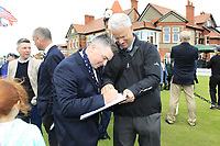 Caolan Rafferty (GB&I) signing his autograph during the Official Opening of the Walker Cup, Royal Liverpool Golf CLub, Hoylake, Cheshire, England. 06/09/2019.<br /> Picture Thos Caffrey / Golffile.ie<br /> <br /> All photo usage must carry mandatory copyright credit (© Golffile | Thos Caffrey)