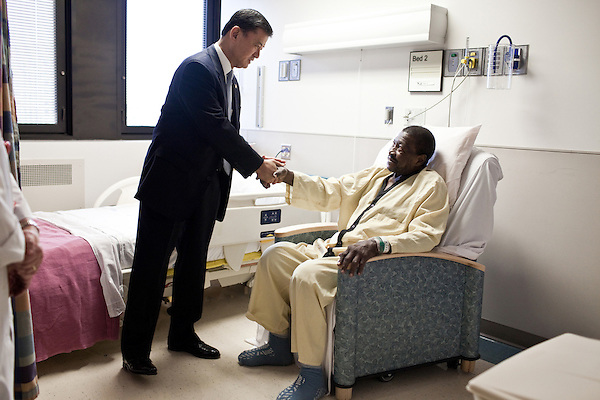 October 23, 2009. Durham, North Carolina.. Eric Shinseki, Secretary of Veterans Affairs for the Obama administration, visited Durham to meet with officials and veterans at the VA hospital, as well as to attend several events and meetings on the Duke University campus.. Sec. Shinseki met with Mr. Pinkney, a Vietnam veteran who was a mortar man in the war and was wounded in combat.