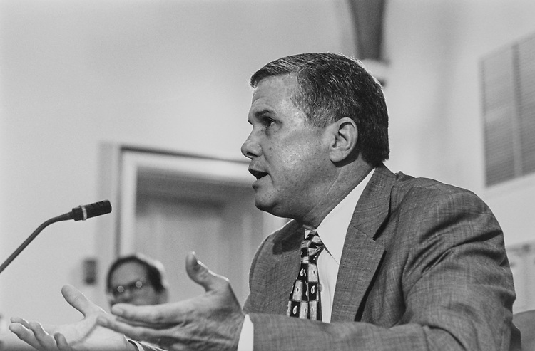 Rep. Larry Combest, R-Tex., speaks before the House Rules Committee regarding the Select Intelligence Committee he chairs, on Sep. 5, 1996. (Photo by Maureen Keating/CQ Roll Call via Getty Images)