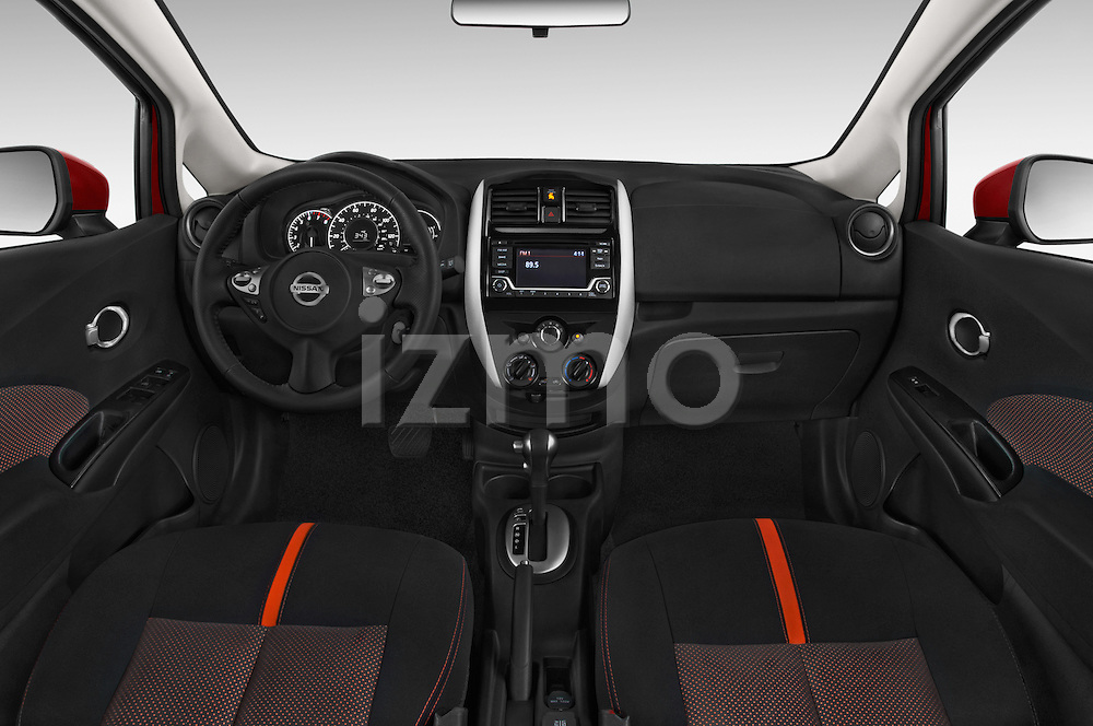 Stock photo of straight dashboard view of a 2015 Nissan Versa Note 5 Door Hatchback