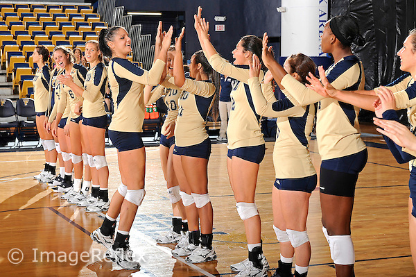 11 September 2011:  FIU middle blocker Silvia Carli (9) high-fives with teammates during player introductions.  The FIU Golden Panthers defeated the Florida A&M University Rattlers, 3-0 (25-10, 25-23, 26-24), at U.S Century Bank Arena in Miami, Florida.