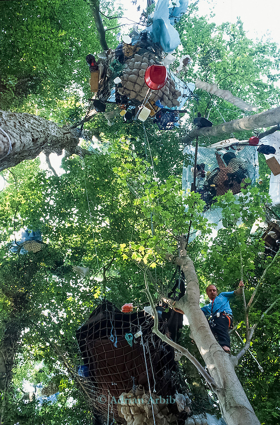 Whitecroft woods, the last stand of trees are occupied by protesters to stop the building of the Batheaston bypass.