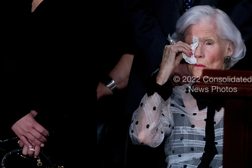 Roberta McCain, mother of, Sen. John McCain, R-Ariz., wipes her eyes as she looks at his casket as he lies in state in the Rotunda of the U.S. Capitol, Friday, Aug. 31, 2018, in Washington. (AP Photo/Andrew Harnik, Pool)