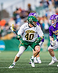 6 April 2019:  University of Vermont Catamount Midfielder Liam Rischmann, a Junior from Darien, CT, in action against the University at Albany Great Danes on Virtue Field in Burlington, Vermont. The Cats rallied to defeat the Danes 10-9 in America East divisional play. Mandatory Credit: Ed Wolfstein Photo *** RAW (NEF) Image File Available ***