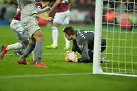 lukasz Fabianski of West Ham United makes a save during West Ham United vs Liverpool, Premier League Football at The London Stadium on 4th February 2019