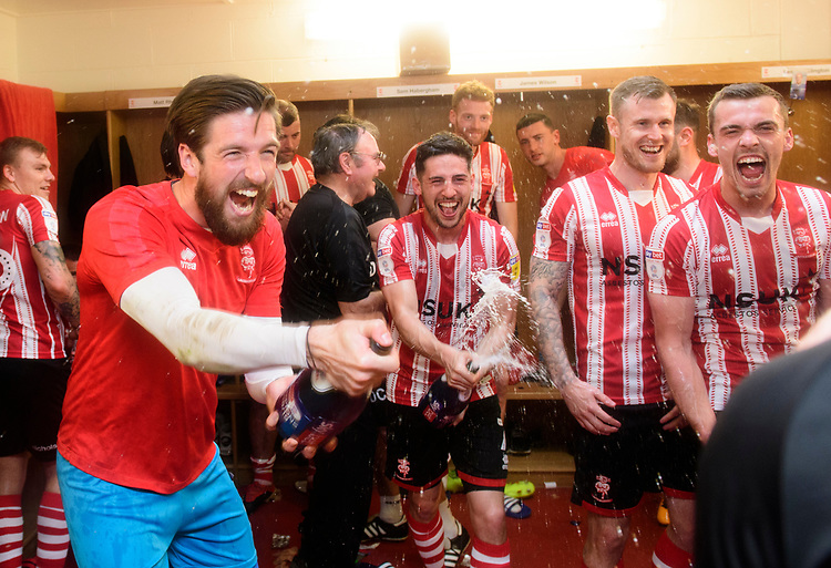 Lincoln City's Josh Vickers celebrates after winning the league<br /> <br /> Photographer Chris Vaughan/CameraSport<br /> <br /> The EFL Sky Bet League Two - Lincoln City v Tranmere Rovers - Monday 22nd April 2019 - Sincil Bank - Lincoln<br /> <br /> World Copyright © 2019 CameraSport. All rights reserved. 43 Linden Ave. Countesthorpe. Leicester. England. LE8 5PG - Tel: +44 (0) 116 277 4147 - admin@camerasport.com - www.camerasport.com