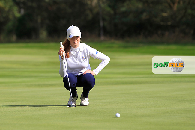 Mathilda Capelliez (FRA) on the 4th green of the Mixed Fourballs during the 2014 JUNIOR RYDER CUP at the Blairgowrie Golf Club, Perthshire, Scotland. <br /> Picture:  Thos Caffrey / www.golffile.ie