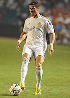 07.08.2013.Miami, Florida, USA.  Cristiano Ronaldo Dossant(7)  during the second half of the  the final of the Guinness International Champions Cup between Real madrid and Chelsea. The game was won by a score of 3-1 by Real Madrid with Ronaldo scoring a brace.