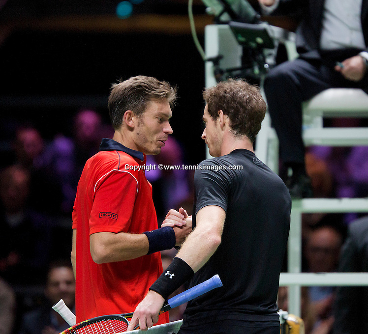 Februari 11, 2015, Netherlands, Rotterdam, Ahoy, ABN AMRO World Tennis Tournament, Andy Murray (GBR) is congratulated by Nicolas Mahut (FRA)<br /> Photo: Tennisimages/Henk Koster