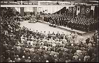 BNPS.co.uk (01202 558833)<br /> Pic: DukesAuctions/BNPS.<br /> <br /> Speeches in front of Nazi and Mercedes banners and even an orchestra as the Nazi party PR machine attempted to maximise the visit's publicity.<br /> <br /> bannersRemarkable photos of Edward VIII touring a car factory during his controversial visit to Nazi Germany in 1937 have been unearthed.<br /> <br /> Huge crowds turned out to catch a glimpse of the former King, rumoured to be a strong supporter of the Nazi party and the fascist cause, who even walked through a guard of Nazi troops giving Hitler salutes.<br /> <br /> The Duke of Windsor, who had abdicated the previous year, was accompanied by high ranking Nazi party officials and even an SS officer whilst touring the Mercedes-Benz factory in Stuttgart.<br /> <br /> During the trip, the Duke had a private meeting with Hitler at his retreat in Berchtesgaden and was infamously photographed giving Nazi salutes.