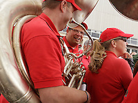 Recently-fired Ohio State Marching Band director Jon Waters marched with the Alumni Band before during Saturday's NCAA Division I football game against Kent State at Ohio Stadium in Columbus on September 13, 2014. (Dispatch Photo by Barbara J. Perenic)