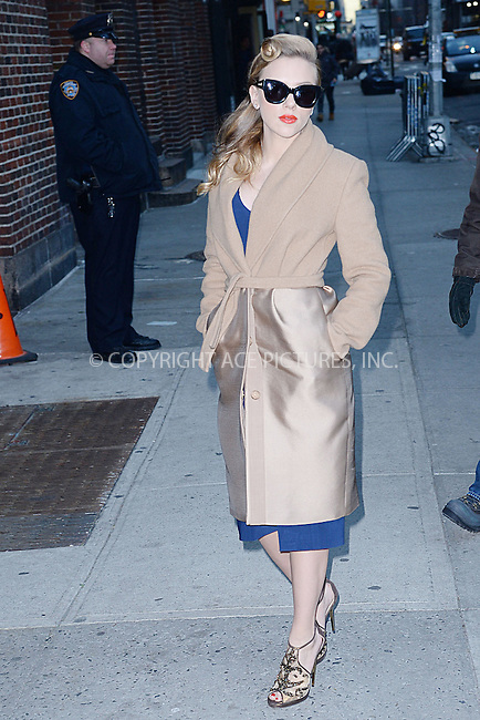 WWW.ACEPIXS.COM <br /> January 8, 2014 New York City<br /> <br /> Scarlett Johansson arriving to tape an appearance on the Late Show with David Letterman on January 8, 2014 in New York City.<br /> <br /> Please byline: Kristin Callahan  <br /> <br /> ACEPIXS.COM<br /> Ace Pictures, Inc<br /> tel: (212) 243 8787 or (646) 769 0430<br /> e-mail: info@acepixs.com<br /> web: http://www.acepixs.com