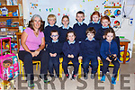 Fiona O'Donoghue with her Junior Infants on their first day at school in Coolick NS front row l-r: Warren O'Boyle, Cliona Kelly, Diarmuid O'Callaghan, Anniemai O'Donoghue. Back row: Donnacha O'Callaghan, Grace Teahan, Daire Goff, Aoibhinn O'Connor and Holly Casey