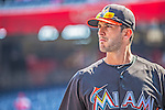 1 April 2013: Miami Marlins outfielder Justin Ruggiano awaits his turn in the batting cage prior to the Opening Day Game against the Washington Nationals at Nationals Park in Washington, DC. The Nationals shut out the Marlins 2-0 to launch the 2013 season. Mandatory Credit: Ed Wolfstein Photo *** RAW (NEF) Image File Available ***