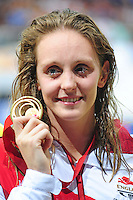 England's Francesca Halsall with her gold medal for winning women's 50m freestyle final<br /> <br /> Photographer Chris Vaughan/CameraSport<br /> <br /> 20th Commonwealth Games - Day 3 - Saturday 26th July 2014 - Swimming - Tollcross International Swimming Centre - Glasgow - UK<br /> <br /> © CameraSport - 43 Linden Ave. Countesthorpe. Leicester. England. LE8 5PG - Tel: +44 (0) 116 277 4147 - admin@camerasport.com - www.camerasport.com