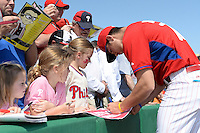 Philadelphia Phillies pitcher Jesse Biddle (70) signs autographs before an exhibition game against the University of Tampa on March 1, 2015 at Bright House Field in Clearwater, Florida.  University of Tampa defeated Philadelphia 6-2.  (Mike Janes/Four Seam Images)