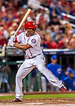6 October 2017: Washington Nationals outfielder Michael Taylor in action during the first game of the NLDS against the Chicago Cubs at Nationals Park in Washington, DC. The Cubs shut out the Nationals 3-0 to take a 1-0 lead in their best of five Postseason series. Mandatory Credit: Ed Wolfstein Photo *** RAW (NEF) Image File Available ***