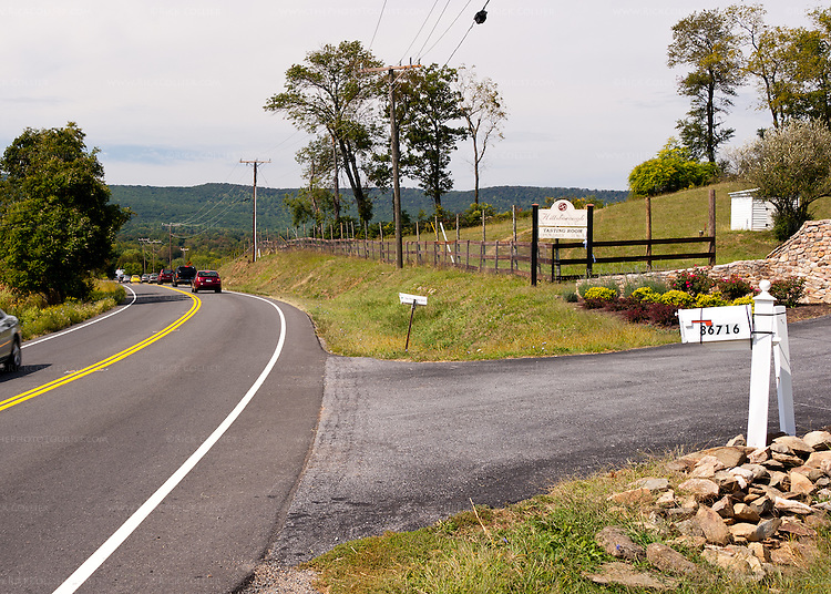 The turn off to Hillsborough Vineyards is well marked with paved driveway, sign and gate.