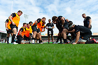 The Exeter Chiefs forwards practise their scrum during the pre-match warm-up. Gallagher Premiership match, between Exeter Chiefs and Leicester Tigers on September 1, 2018 at Sandy Park in Exeter, England. Photo by: Patrick Khachfe / JMP