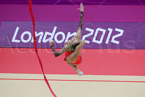 10.08.2012. London, England. Jana Berezko Marggrander ger Ribbon Rythmic Gymnastcis 2012 London Olympic Games.