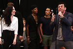 """Lena Hall and Bradley Dean with cast during Jim Steinman's """"Bat Out of Hell - The Musical"""" - Open Rehearsal at New York City Center on July 30, 2019 in New York City."""